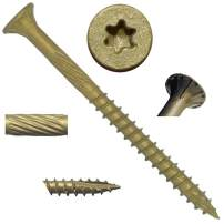 "#10 x 2-1/2"" Bronze Star Exterior Coated Wood Screw Torx/Star Drive Head (5 POUNDS - 385 Approx. Screw Count) - Multipurpose Exterior Coated Torx/Star Drive Wood Screws"