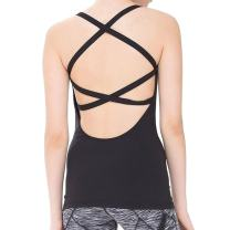 Women Open Back Workout Spaghetti Strap Camisole Yoga Tank Top with Built in Bra