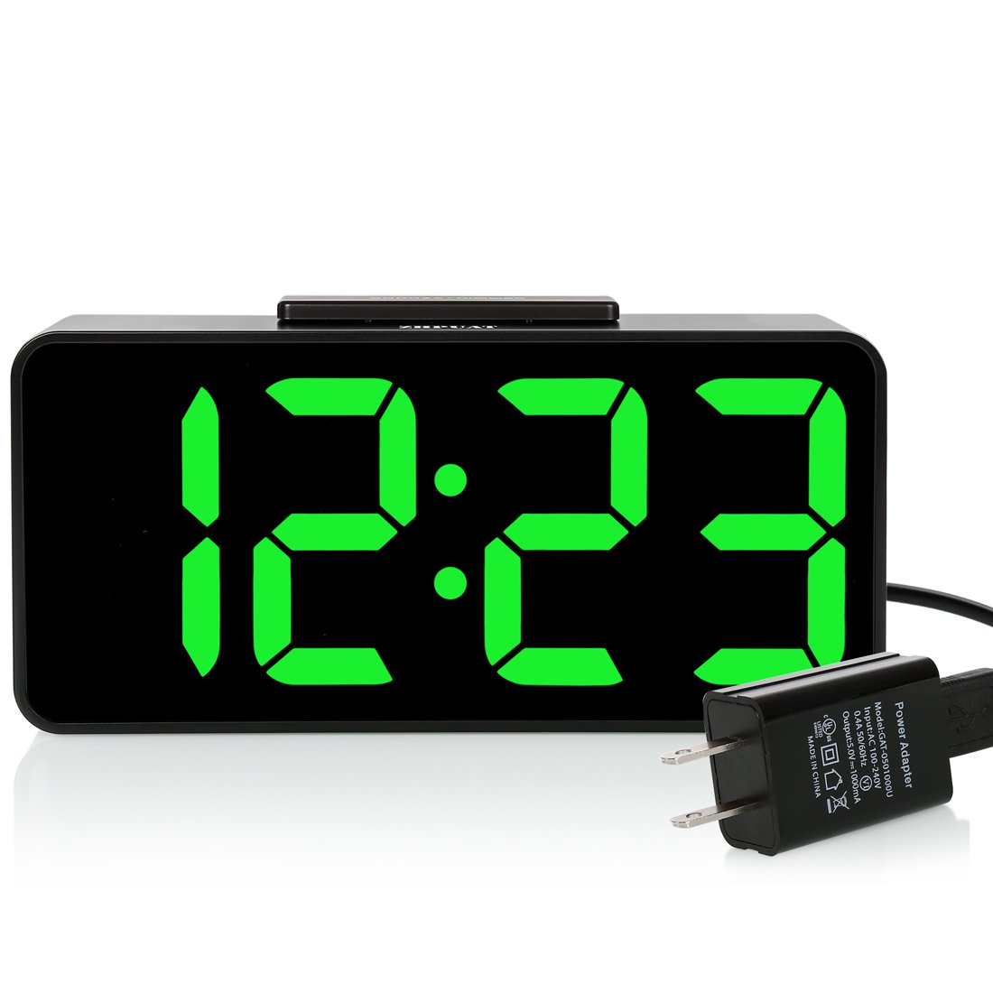 """ZHPUAT [Updated Version On Brightness] 8.9"""" Big Screen Digital Alarm Clock with Dimmer and Alarm Sound Control Function with USB Charger,Battery Backup (Green)"""