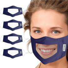 4Pcs Solid Color Reusable Clear Mask, Face Bandanas with Clear Window, Visible Expression for Adults, Indoors and Outdoors for Deaf and Hard Of Hearing (Navy)