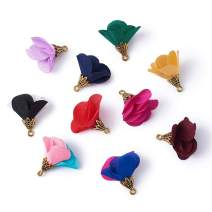 Beadthoven 100-Piece Mixed Color Fabric Flower Pendants 25x24mm Cloth Tassel Jewelry Charms with Golden Petals Cap for Dangle Earrings Keychain Making