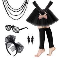 80s Costume Accessories Set Women Fancy Dress Tutu Leg Glove Necklace Headband Earring Glasses