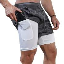 Gafeng Men's 2 in 1 Running Shorts Workout 5 Inch Compression Mesh Gym Training Sport Light Tight Pants with Phone Pocket