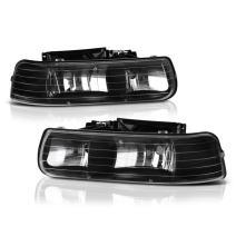 VIPMOTOZ For 1999-2002 Chevy Silverado 1500 2500 3500 Headlights - Matte Black Housing, Driver and Passenger Side