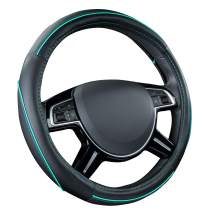 CAR PASS Colour Piping Leather Universal Fit Steering Wheel Cover,Perfectly fit for Suvs,Vans,Trucks,Sedans,Cars (Black and Mint)