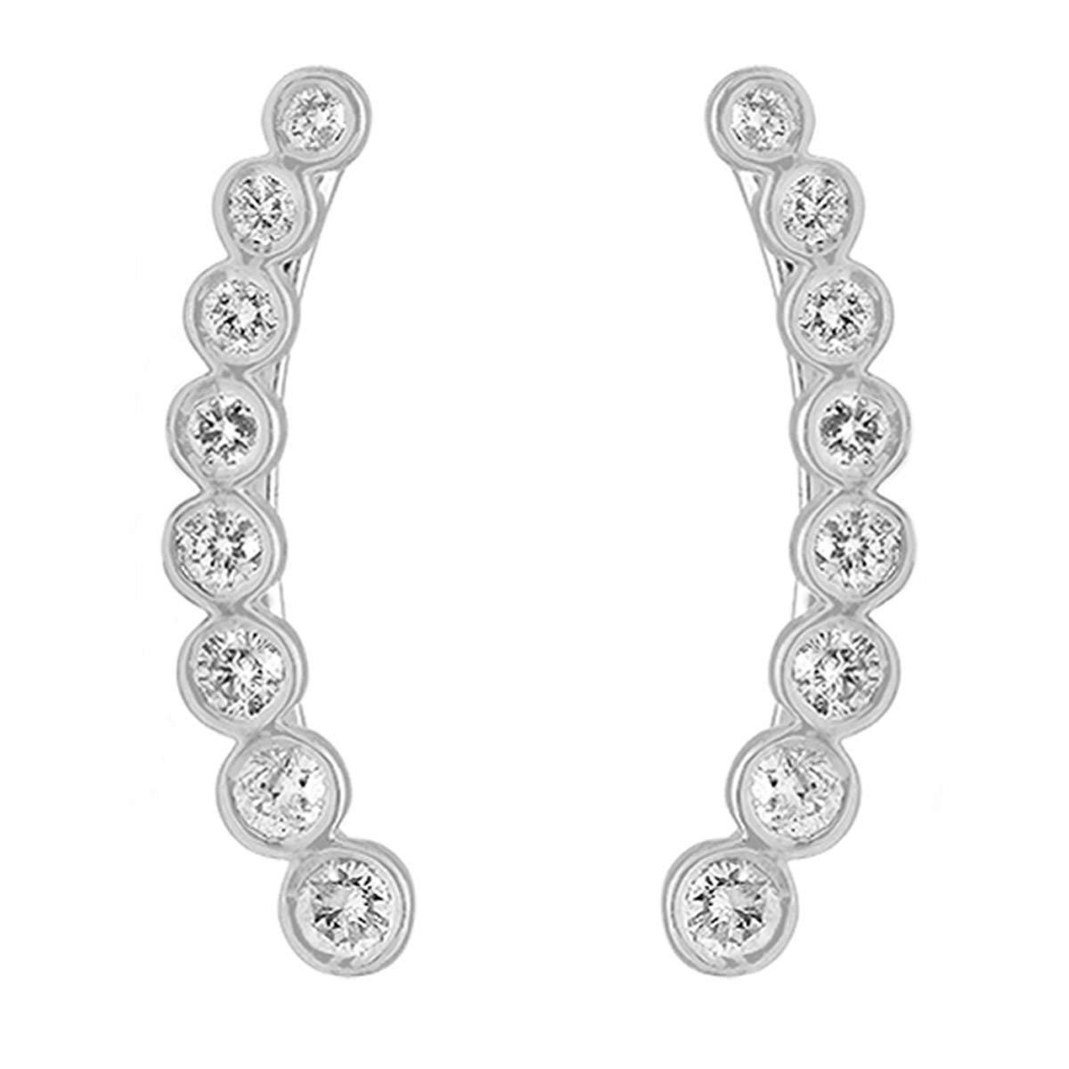 Dazzlingrock Collection 0.60 Carat (ctw) 14K Gold Round White Diamond Ladies Journey Curved Climber Earrings