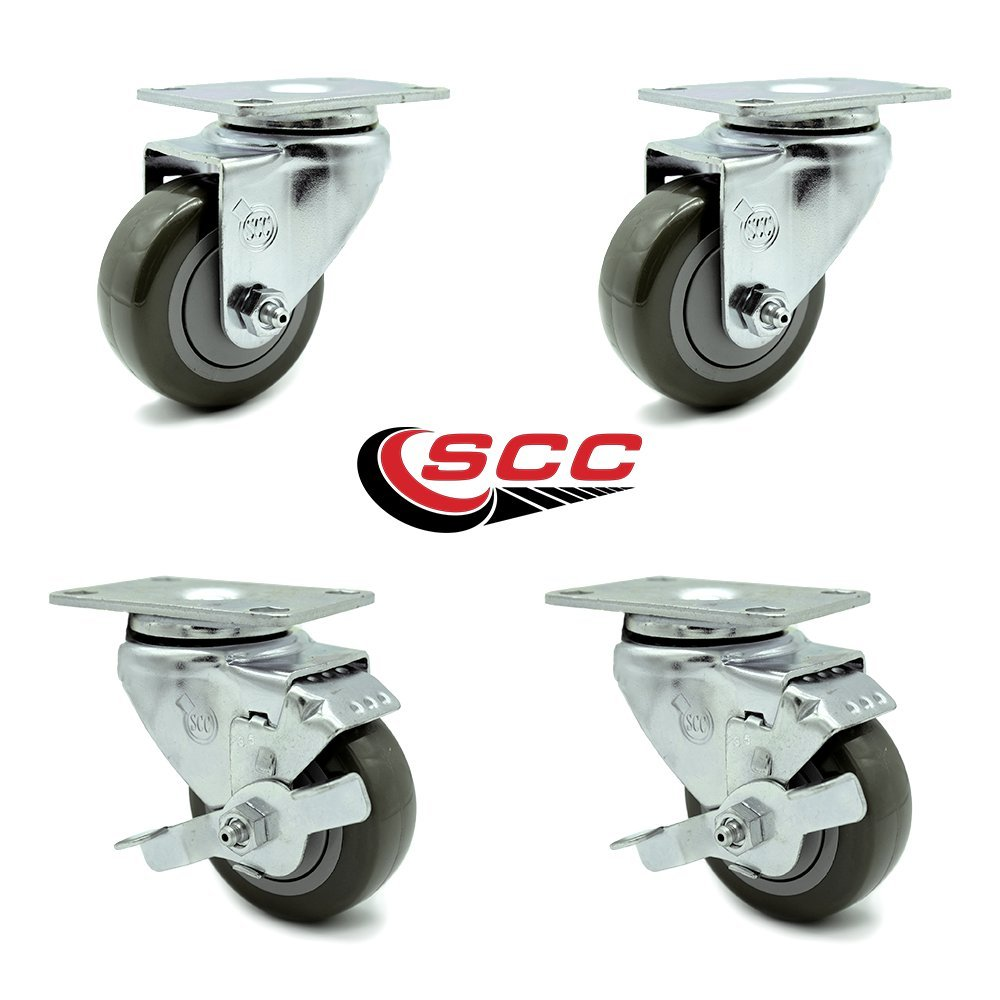 "Service Caster - 3.5"" x 1.25"" Gray Polyurethane Wheels Caster Non-Marking Set of 4-2 Swivel Casters w/Brakes/2 Swivel"