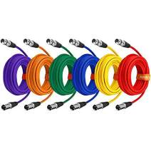 Microphone Cable, NUOSIYA XLR Microphone Cable 20 feet, XLR Male to Female Mic Cables(6-Pack), 3 pin Double Shielded Balanced DMX Cables/XLR Cables.