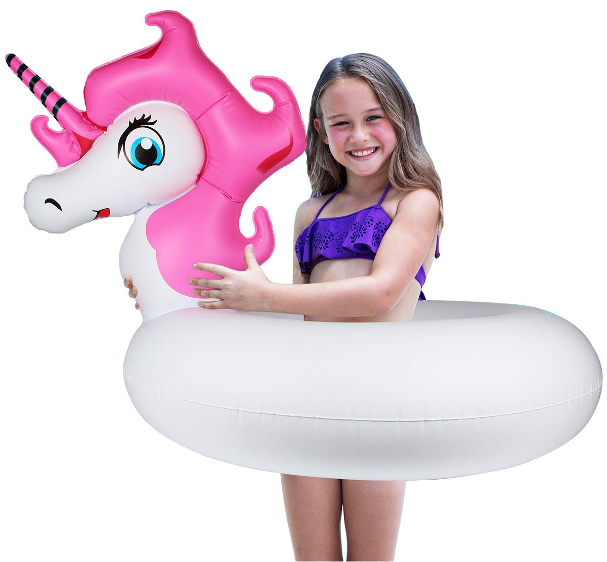 """Aitey Pool Float for Kids, Inflatable Giant Unicorn Tubes Float, Summer Beach Floatie Pool Party Lounge Raft Decorations Toys for Girls Adult (33"""" x 13.8"""" x29.5"""")"""