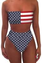 VamJump Women's Removable Strap Bandeau Top High Cut Cheeky Bikini Set Swimsuit