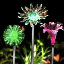 Solar Garden Lights - 3 Pack Solar Powered Garden Stake Lights with a Purple LED Light Stake, Multi-Color Changing LED Solar Stake Lights for Garden,Patio,Backyard (Dandelion,Lily,Sunflower)