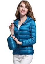FOURSTEEDS Women's Lightweight Packable Hooded Soft Solid Color Puffer Coat