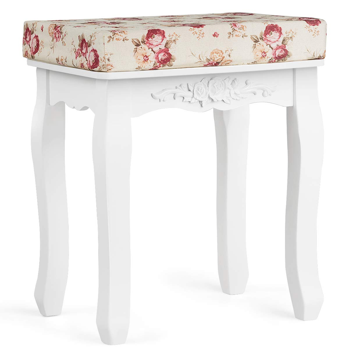 Giantex White Vanity Stool For Women With Velcro Padded Seat Removable Easy Cleaning Cushions Comfortable Girls Piano Dressing Table Makeup Desk Bench Chair For Bedroom Bathroom Modern Wood Legs Curved Vanity Stools With
