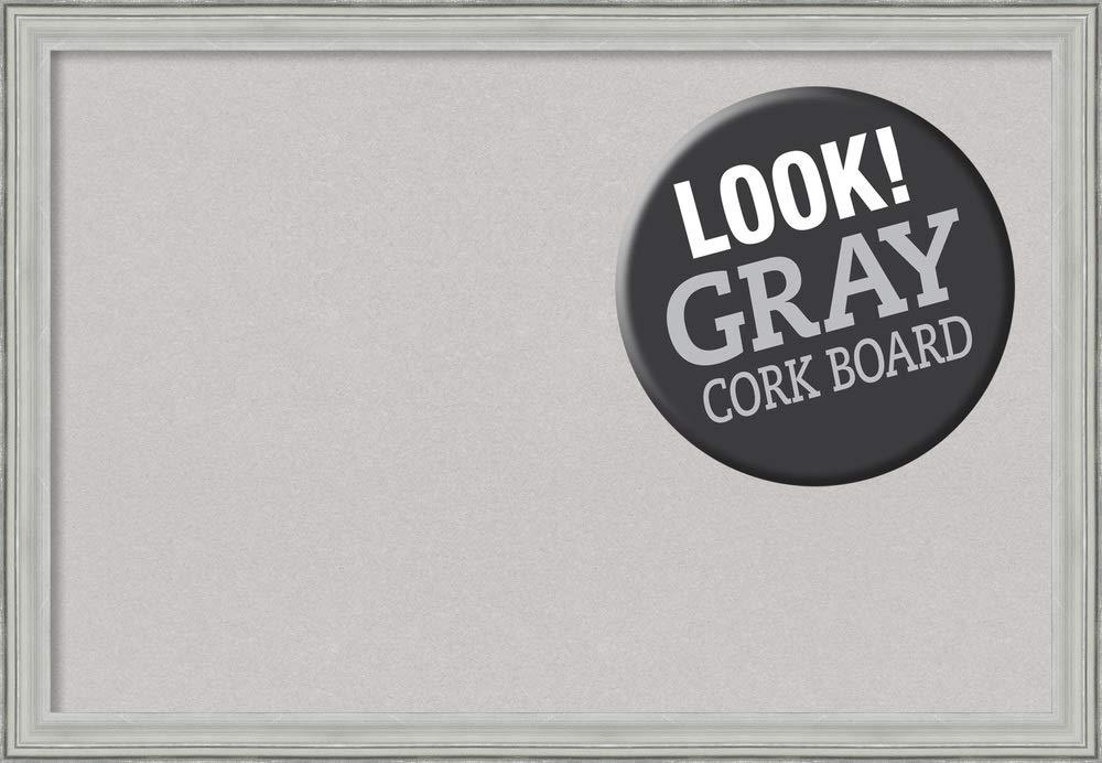 Framed Grey Cork Board Bulletin Board   Grey Cork Boards Bel Volto Silver Frame   Framed Bulletin Boards   39.00 x 27.00 in.