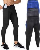 Yuerlian Mens Mens Running Tights Cool Dry Pant Baselayer Tights Leggings with Zippper Pockets 3 Pack