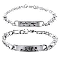 MJartoria His Beauty Her Beast Stainless Steel His and Hers Couple Bracelet Set Stainless Steel His & Hers Matching Link Chain Bangle in Gift Box Anniversary Xmas Women Men Gift