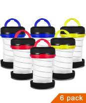 JEFAL 6 Pack Portable Mini Camping Lantern with LED Flashlights 2 in 1, 3-Lighting-Modes Survival Tool for Hiking, Camping, Emergency, Hurricane, Power Outage - Collapsible Mini Size - Battery Powered