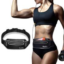 """QUANFUN Slim Running Belt, Fanny Packs Waist Pack for Cell Phones, Running Pouch Phone Holder with Two Zippers Bag for Women Men Runners, Workout Gym Accessories Fits up to 6.5"""" Phones"""