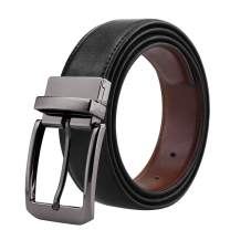"""Belts for Men Genuine Leather Dress Belt Reversible with 1.3"""" Wide Rotated Buckle"""
