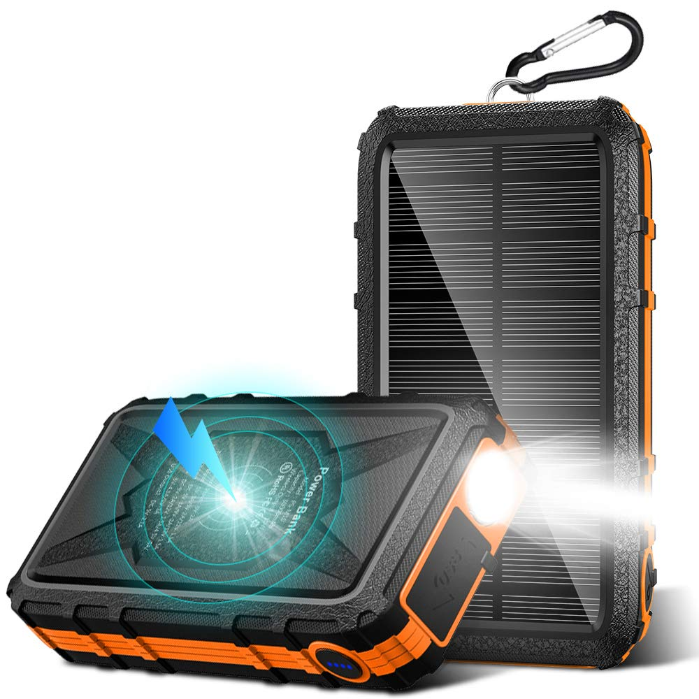 PSOOO Solar Charger Power Bank Cigarette Lighter 30000 mAh Huge Capacity with PD22.5W Fast Charge Light for Camping Outdoor (Orange)