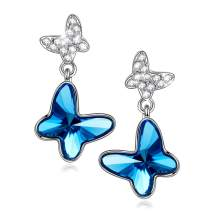 PAULINE&MORGEN ✦ Butterfly Dream ✦ Mother's Day Earrings Gifts for Her Women Sterling Silver Blue Butterfly Stud Earrings for Women with Crystal from Swarovski Hypoallergenic