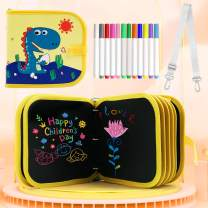 2020 New Detachable Leather Erasable Drawing Pad Toys with Strap(Dinosaur), Magna Reuse PP Portable Binder Writing Board for Kids Toddlers Boys Girls Gift Age 2 3 4 5 6 7 8 Year Old
