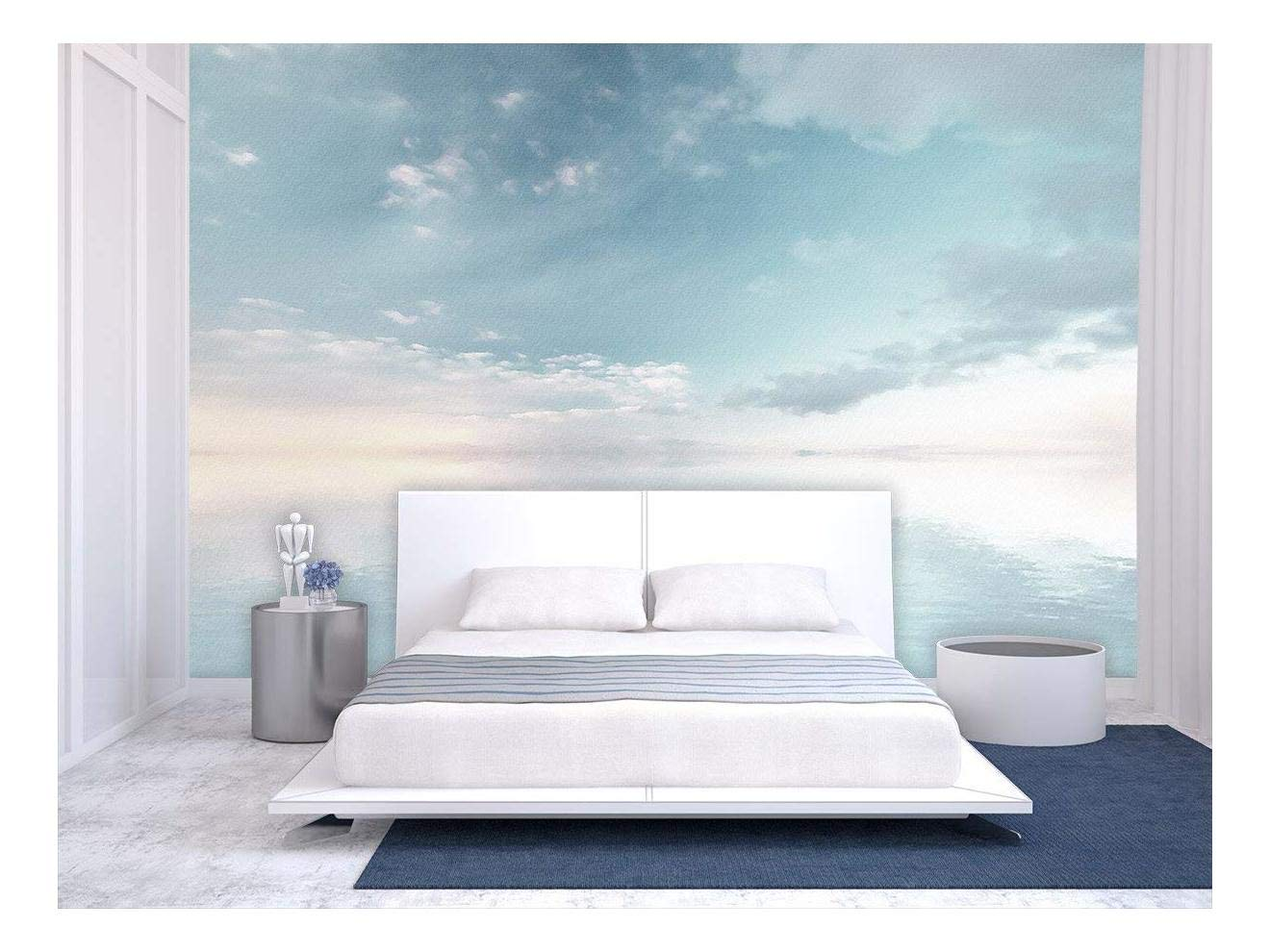 wall26 - Large Wall Mural - Oil Painting Style Landscape with Sky Reflected on The Calm Water Surface   Self-Adhesive Vinyl Wallpaper/Removable Modern Wall Decor - 100x144 inches