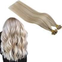 Runature U Tip Extensions Color 18AP60 Ash Blonde With Platinum Blonde 14 Inches 40g 50 Strands 0.8g per Strand Keratin Bond Hair Extensions Tip Hair Extensions