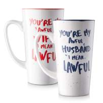 LIFVER Funny Couple Mugs, 16 Ounces Funny Gifts for Women and Men, Great Gift for Couple, Porcelain Coffee Mug set for Microwave, Set of 2 (Blue and Red)