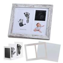 """IHEIPYE Hand and Footprint Photo Frame - Baby Handprint Kit Keepsake - Perfect Registry Gift for Newborn Baby, New Parents, Baby Shower, Gender Reveal Party, Nursery Decor(8x10"""", Rustic)"""