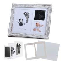 "IHEIPYE Hand and Footprint Photo Frame - Baby Handprint Kit Keepsake - Perfect Registry Gift for Newborn Baby, New Parents, Baby Shower, Gender Reveal Party, Nursery Decor(8x10"", Rustic)"