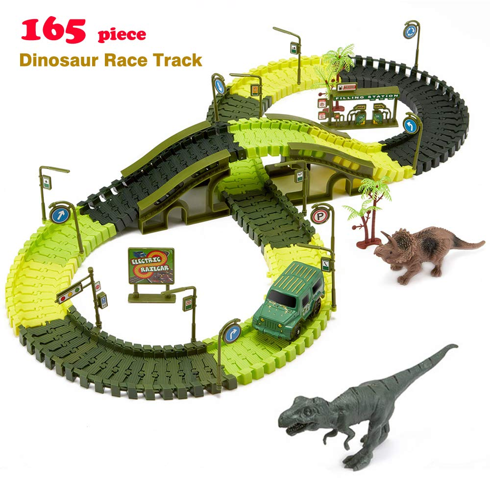 iLifeTech Dinosaur Race Track Car Toys 165pcs Jurassic World Track Car Sets for 3-12 Years Old Boys and Girls Gift