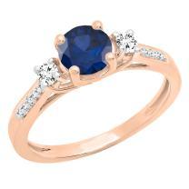 Dazzlingrock Collection 14K 6 MM Round Gemstone, White Sapphire & Diamond Ladies Bridal 3 Stone Engagement Ring, Rose Gold