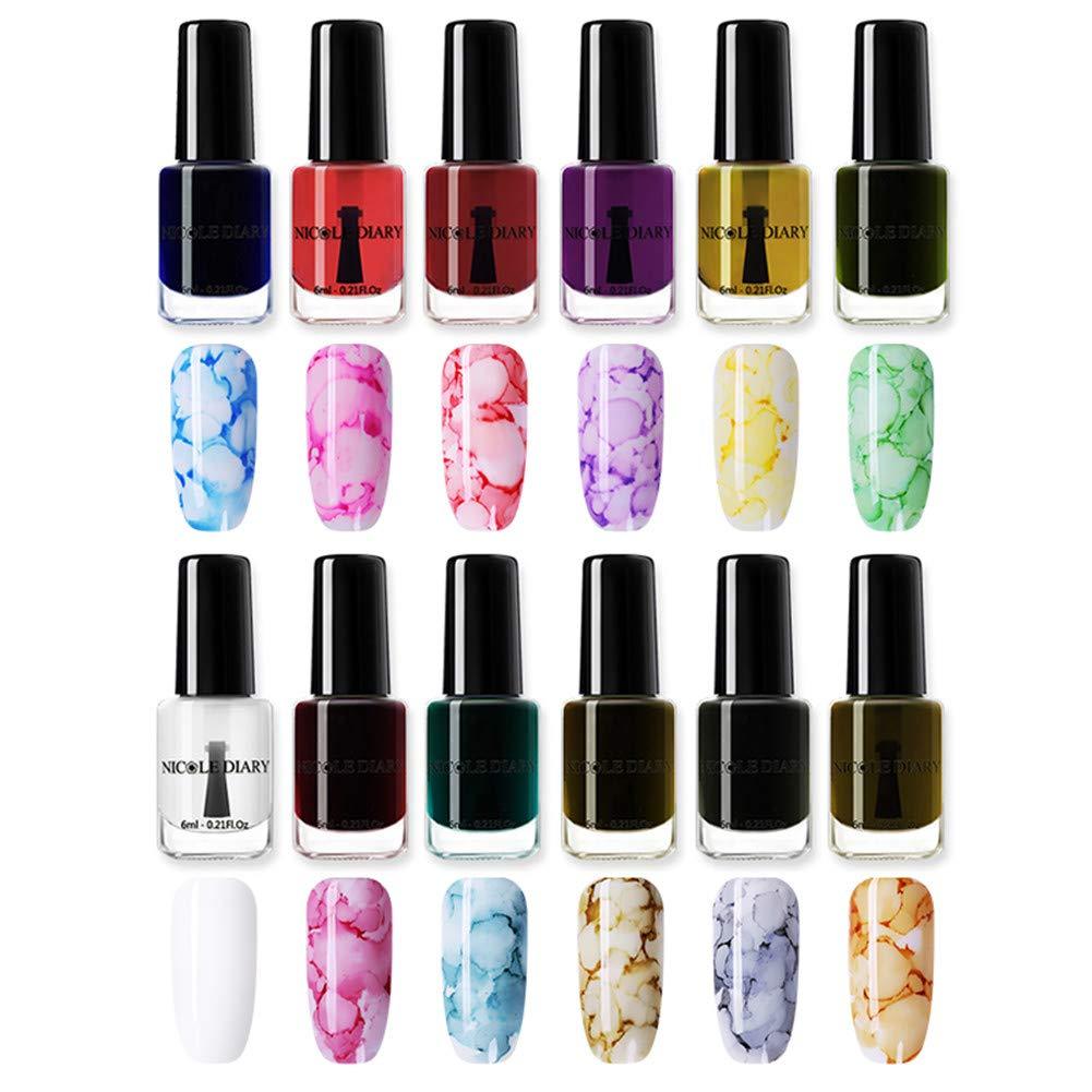NICOLE DIARY Blossom Nail Varnish Watercolor Marble Nail Ink Flower Nail Art Varnish DIY Design(6ml, 12 colors)