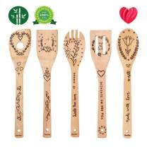 Organic Bamboo Spoons for Cooking DaceStar Personalized Flower Pattern Kitchen Burned Utensils Spatula Household Items Non-stick Kitchen Cookware Ideal Gift for Foodies and Chef(5 Pieces)