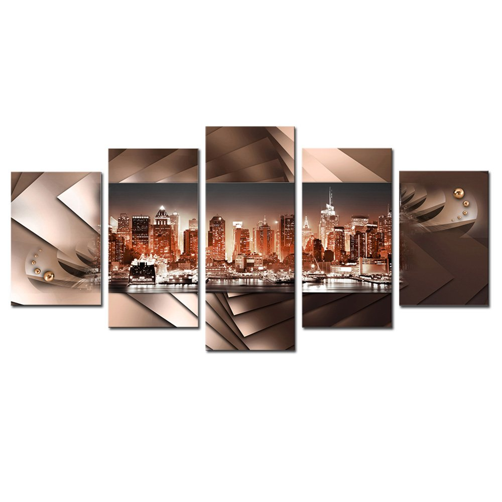 AWLXPHY Decor-New York City Wall Art Canvas Abstract Urban Painting Framed and Stretched 5 Panels for Living Room Modern Night View Cityscape HD Print Picture Artwork Giclee (Brown, W40 x H20)