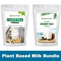 Alternative Plant Based Milk Powder Bundle - Coconut & Cashew - Delicious All Natural Dried Milk For Coffee, Smoothie, Baking, & Recipes