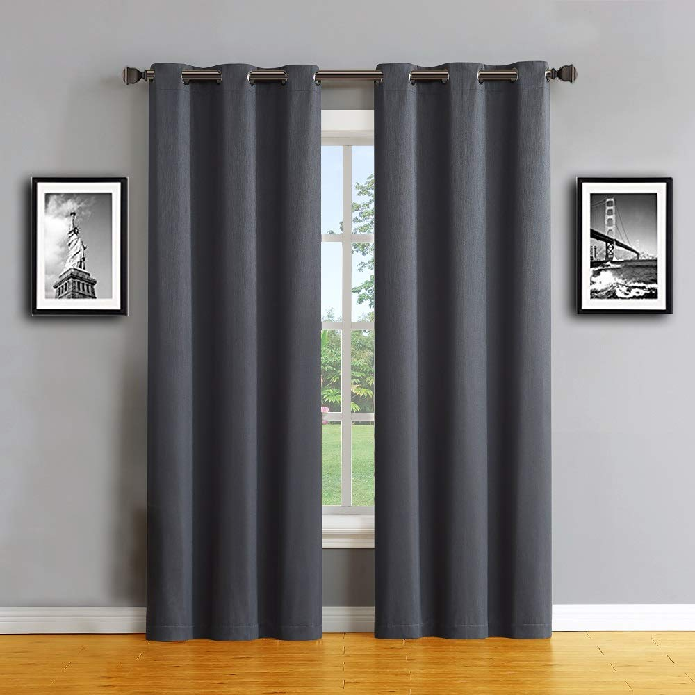 """Warm Home Designs 1 Pair (2 Panels) of Standard Length 37"""" x 84"""" Textured Charcoal Color Insulated Thermal 100% Blackout Curtains for Bedroom with Grommets. Total Width is 74 Inches. MA Charcoal 84"""