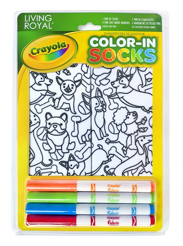Living Royal Crayola Kid's Color-in Socks - Includes 1 Pair of Socks and 4 Fabric Markers (Puppies Galore)