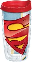 Tervis 1147258 Superman - Logo Tumbler with Wrap and Red Lid 10oz Wavy, Clear