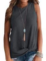 AUSELILY Womens Sleeveless Casual Tops Cute Twist Knot Waffle Knit Shirts Tank Tops