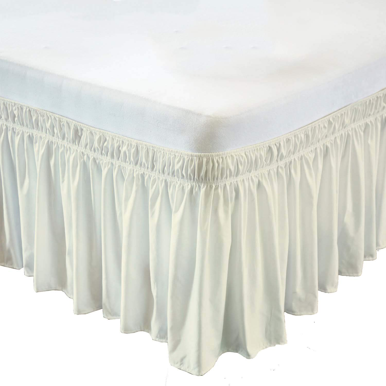 Wrap Around Bed Skirt- 12 Inch Drop Length Style Easy Fit Elastic Bed Ruffles Bed-Skirt Wrinkle Free Bed Skirt - Ivory, TwinSize (Available in All Bed Sizes and Colors)