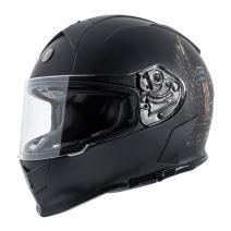 TORC Unisex-Adult Full Face helmet (Flat Black Wings, X-Small)