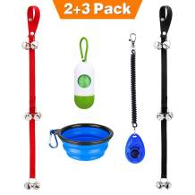 Manfiter Dog Doorbell for Potty Training with Collapsible Dog Bowl and Dog Clicker and Potty Waste Bag Dispenser with 15 Count Bags, Bells for Puppy Training
