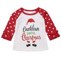 Christmas Toddler Baby Girls Blouse Long Sleeve Printed Ruffles T-Shirt Tops Clothes Outfits