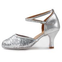 HROYL Womens & Girls Closed Toe Glitter Synthetic Evening Wedding Tango Ballroom Modern Rubber Heel Latin Dance Shoes,Model DY113-WXCL