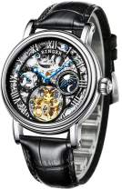 BINGER Men's Watch Automatic Mechanical Stainless Steel Skeleton Leather Band