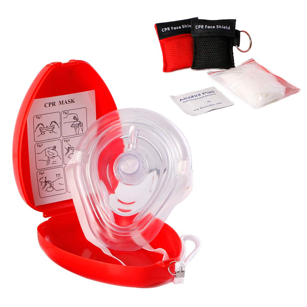 Medical First Aid CPR Mask for Adult/Kids — Hard Case with Wrist Strap, Gloves, Wipes and 2 Keychain CPR Face Shield