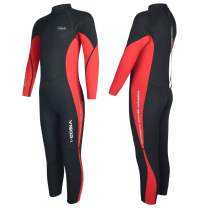 Hevto Wetsuits Kids and Youth Vigor 3mm Neoprene Full Suits Long Sleeve Surfing Swimming Diving Swimsuits Keep Warm Back Zip for Water Sports