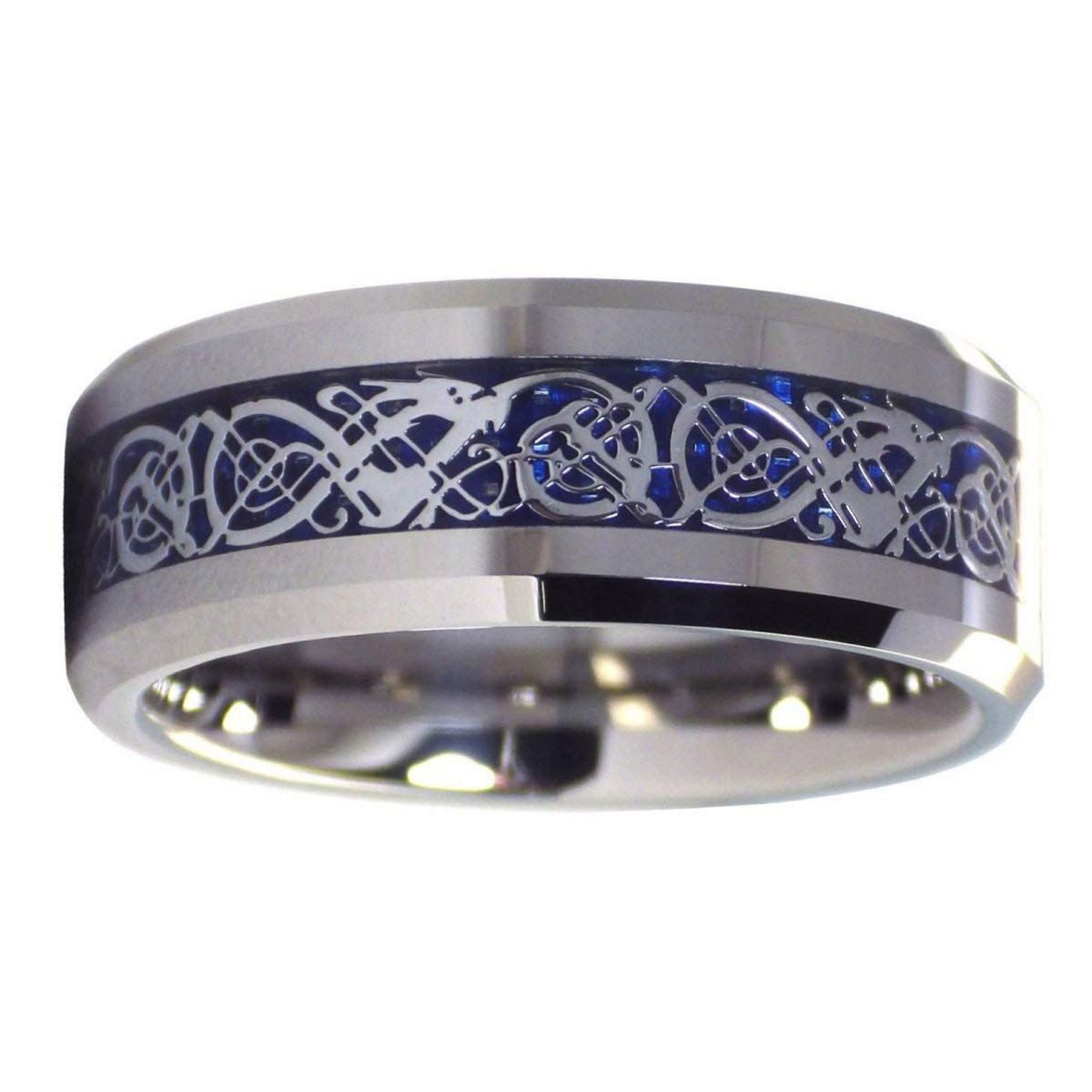 Fantasy Forge Jewelry Tungsten Celtic Ice Dragon Ring Anniversary Wedding Band Blue Carbon Fiber 8mm Sizes 6-17